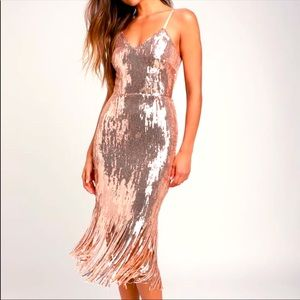 Lulus Rose Gold Sequin Fringe Midi Dress